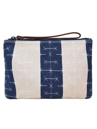Blue-Cream Digital Printed Cotton Canvas Wristlet