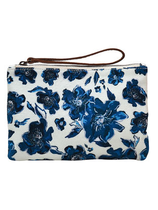 Indigo-White Floral Digital Printed Cotton Canvas Wristlet