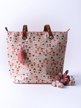 Pink Digital Printed Tote with Tassel