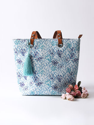 Blue Digital Printed Tote with Tassel