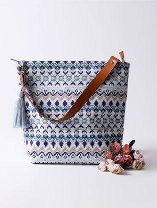 Blue Digital Printed Bucket Bag with Tassel