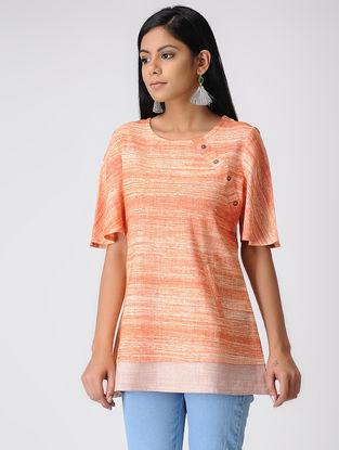 Orange-Ecru Handwoven Cotton Khadi Top