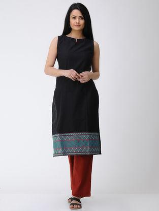 Black Hand-embroidered Cotton Kurta