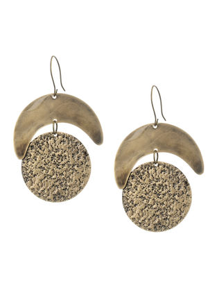 Hammered Gold Tone Brass Earrings