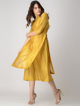 Mustard Handwoven Chanderi Dress/Kurta with Kantha Embroidery