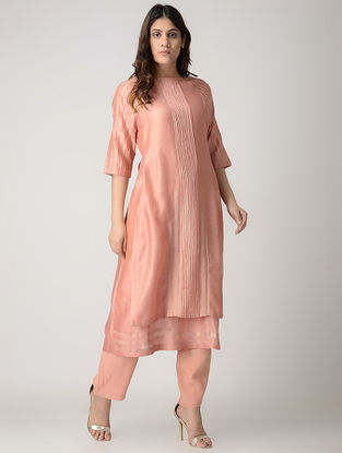 Pink Handwoven Chanderi Dress/Kurta with Kantha Embroidery