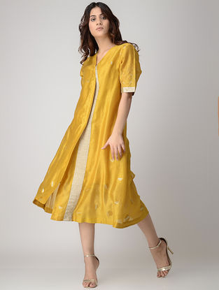 Mustard Kantha-embroidered Handwoven Chanderi Dress/Kurta with Block-printed Slip (Set of 2)