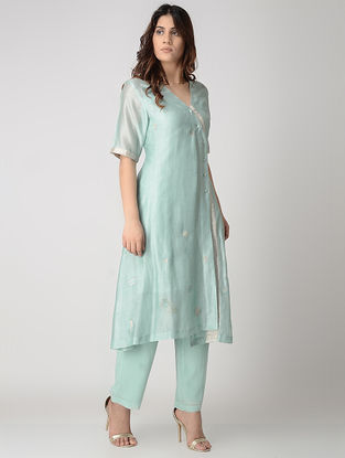 Turquoise Kantha-embroidered Handwoven Chanderi Dress/Kurta with Block-printed Slip (Set of 2)