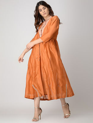 Rust Handwoven Chanderi Dress with Kantha Embroidery