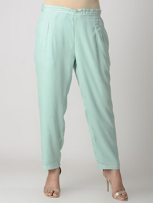 Turquoise Elasticated Waist Viscose Crepe Silk Pants