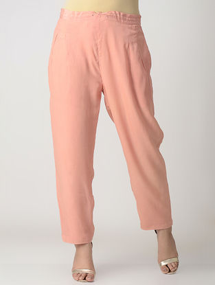 Pink Elasticated Waist Viscose Crepe Silk Pants