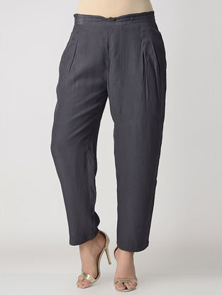 Charcoal Elasticated Waist Viscose Crepe Silk Pants