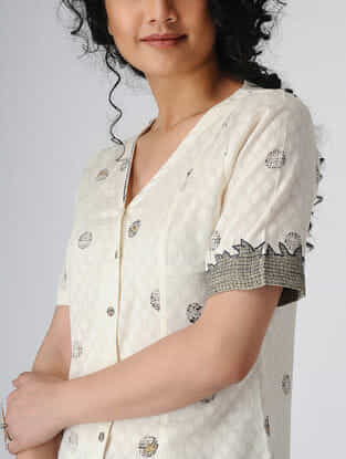 Ivory Block-printed Cotton Top with Hand Embroidery