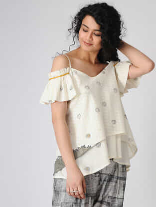 Ivory Block-printed Cold-shoulder Cotton Top with Hand Embroidery
