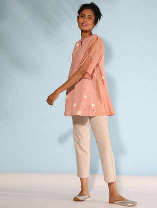 Pink Block-printed Linen Flax-Chanderi Top with Embroidery