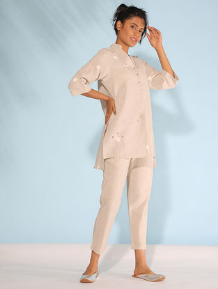 Beige Block-printed Linen Flax Top with Embroidery