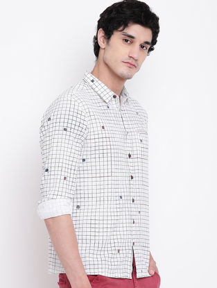 White Hand Block-printed Cotton Linen Full Sleeve Shirt