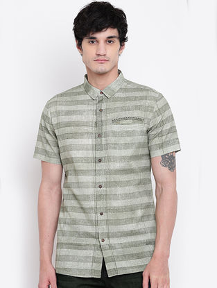 Green Hand Block-printed Cotton Linen Half Sleeve Shirt