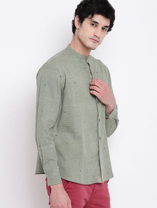 Green Hand Block-printed Cotton Linen Full Sleeve Shirt