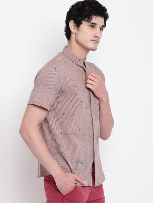 Beige Hand Block-printed Cotton Linen Half Sleeve Shirt