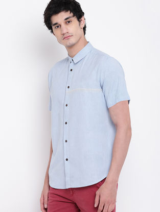 Blue Cotton Linen Half Sleeve Shirt with Hand Stitched Detailing