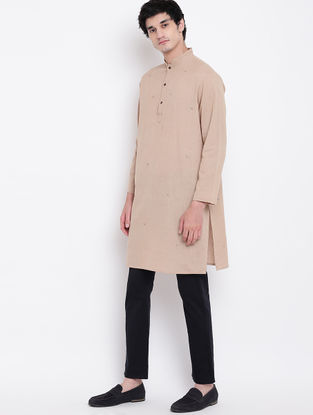 Beige Cotton Linen Full Sleeve Kurta