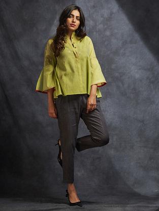 Green Handwoven Chanderi Top with Zari and Sequin Work