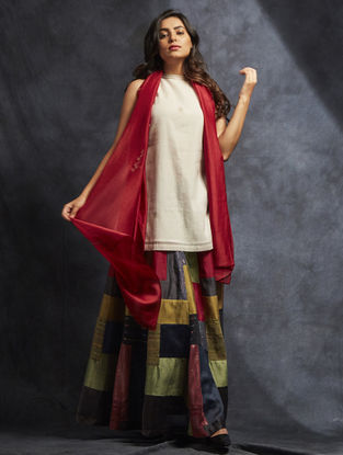 Multicolored Handwoven Chanderi-Cotton Skirt with Patch Work
