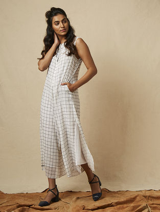 Ivory Block-printed checkered Cotton Jumpsuit with Embroidery
