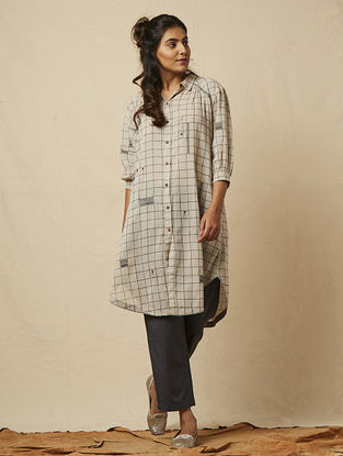 Grey Block-printed checkered Cotton Shirt Dress with Embroidery