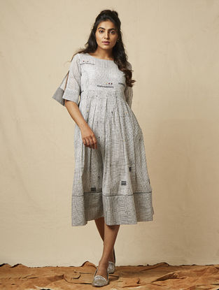 Ivory Block-printed checkered Cotton Dress with Embroidery