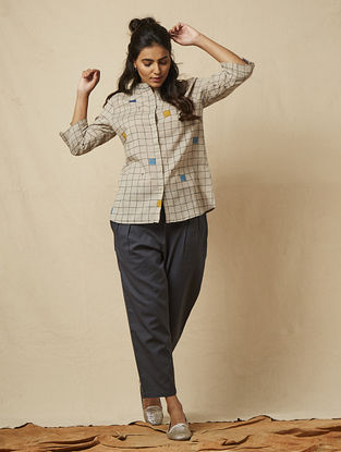 Grey Block-printed checkered Cotton Shirt with Embroidery