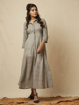 Grey Block-printed checkered Cotton Dress with Embroidery