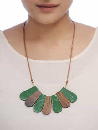 Green-Brown Wood Necklace