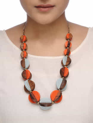 Orange-Brown Wood Necklace