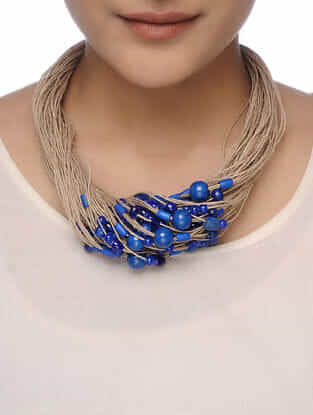 Blue-Beige Beaded Necklace
