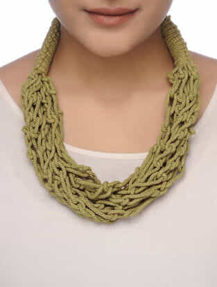 Green Cotton Thread Necklace