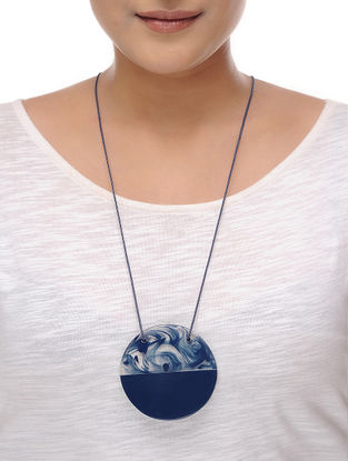 Milky Way Indigo Cotton and Resin Necklace