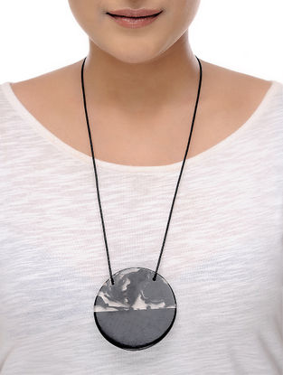 Milky Way Grey Cotton and Resin Necklace