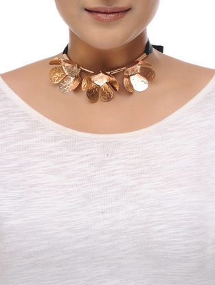 Abloom Rose Gold Brass and Grosgrain Ribbon Necklace
