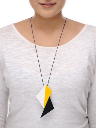 Vaarti Origami Black-Yellow Cotton and Resin Necklace