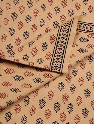 Beige-Black Bagh-printed Cotton Fabric