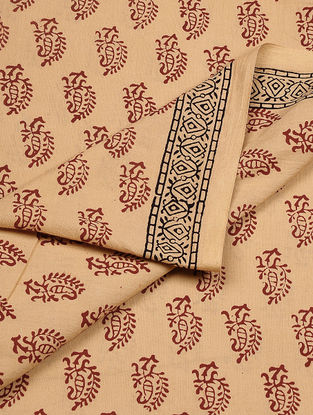 Beige-Maroon Bagh-printed Cotton Fabric