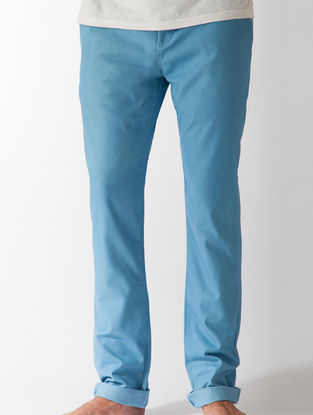 Light Indigo Slim Fit Organic Cotton Chinos with Pockets