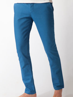 Medium Indigo Slim Fit Organic Cotton Chinos with Pockets