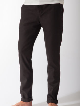 Black Slim Fit Organic Cotton Chinos with Pockets