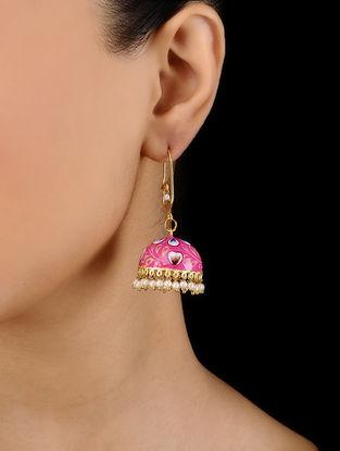 Red Gold Tone Hand Painted Enamel Earrings