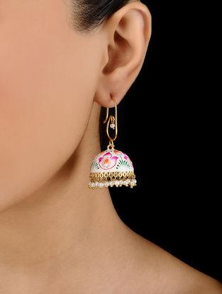 White Gold Tone Hand Painted Enamel Earrings