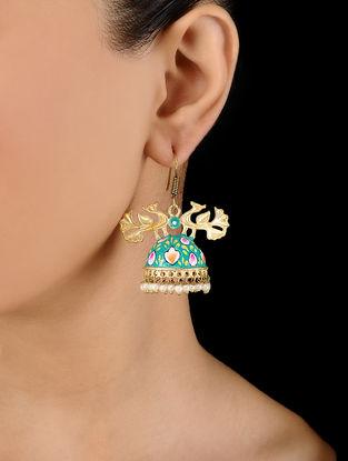 Blue Gold Tone Hand Painted Enamel Earrings