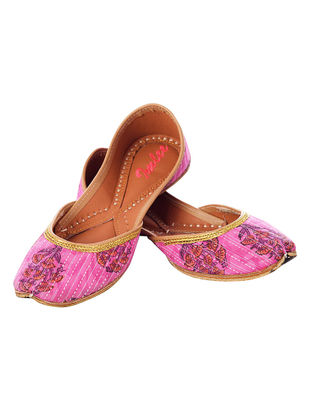 Pink Block-printed Cotton and Leather Juttis for Women-36